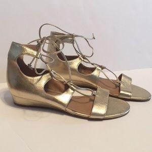 Tahari gold lace-up sandals